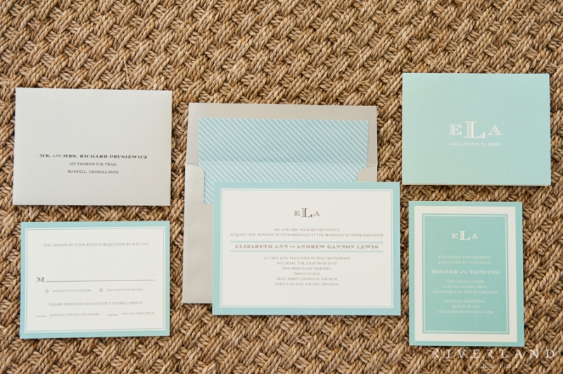 White and Blue Invitations