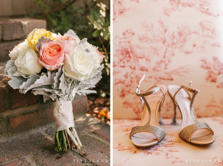southern wedding shoes and bouquet