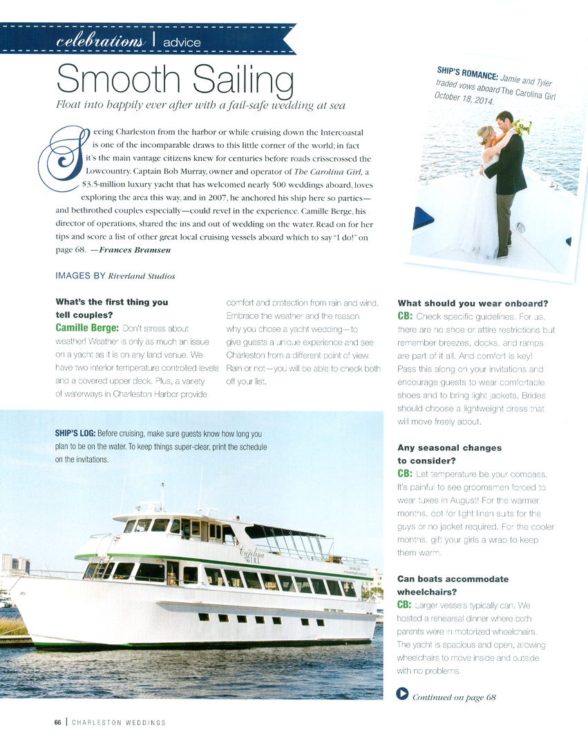 Charleston Weddings Magazine Carolina Girl Yacht2